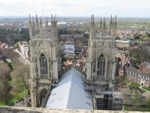 View down on its westwork from the central tower of York Minster