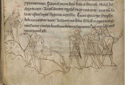Marginal illustration of King Stephen directing one of his commanders, drawn c. 1230, British Library, MS Arundel 48, fo. 168v