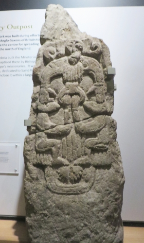 Anglian carved stone in York Minster Museum perhaps showing Weland the Smith