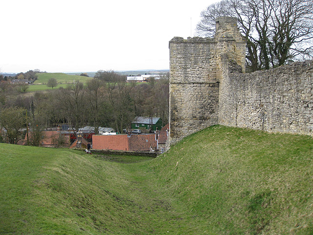Pickering Castle depicted with the twelfth-century counter-castle visible, from Wikimedia Commons