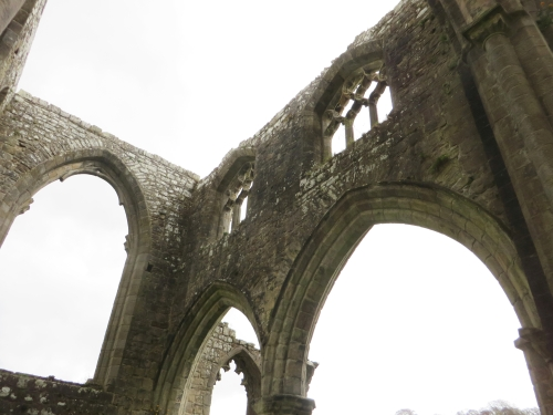 Surviving upper courses and window tracery in the east end at Bolton Abbey Priory