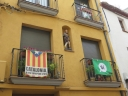 Independence banners in the street near the church of Sant Esteve de Palautordera