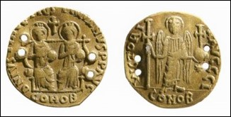 Gold solidus of Justin I and Justinian I, 527 CE, found in tomb of Tian Hong (d.575) at Guyuan