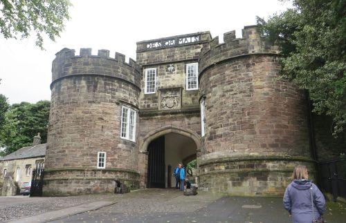 Street entrance to Skipton Castle through its barbican