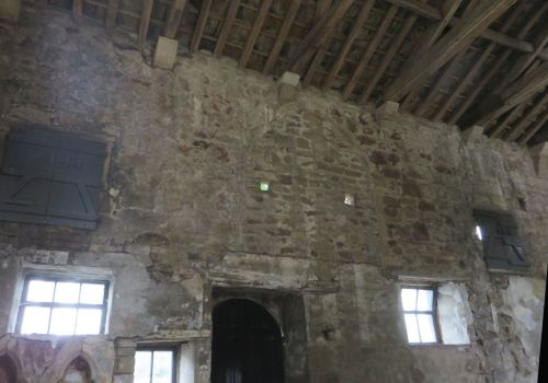 Inside view of the south wall of the erstwhile chapel of ST John the Evangelist at Skipton Castle