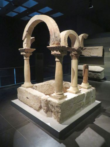 Part of the baptistery of Bovalar in the Museu de Lleida