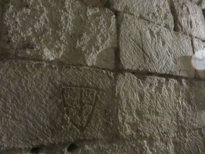 Prisoners' marks in the dungeon wall at Skipton Castle
