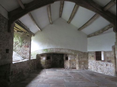 North-west end of the medieval kitchen in Skipton Castle