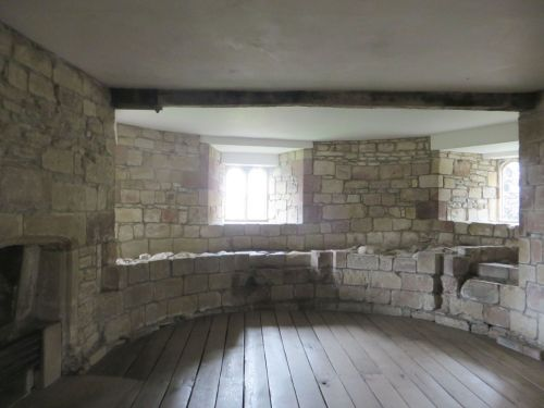 Slighted and rebuilt wall inside one of the towers of Skipton Castle