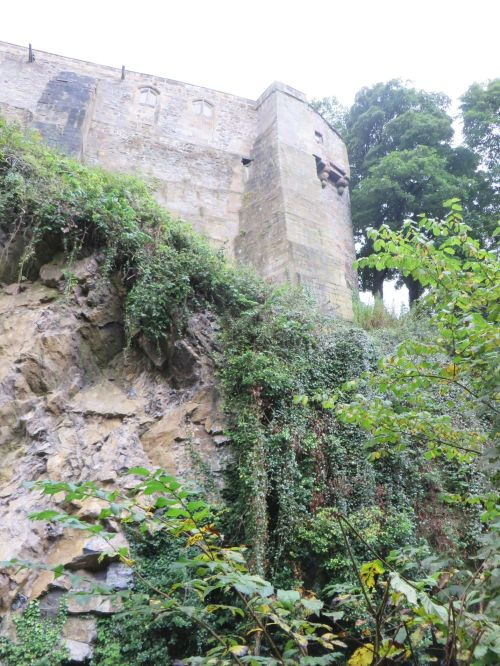 The south-west corner of Skipton Castle and the end of the ridge on which it sits, viewed from the canal below
