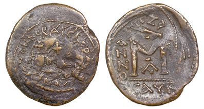 Copper-alloy follis of Emperor Heraclius overstruck on one of Maurice Tiberius at Isaura in 617-618, Barber Institute of Fine Arts B3496