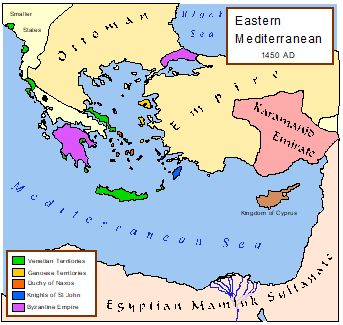 Political map of the Eastern Mediterranean around 1450 CE