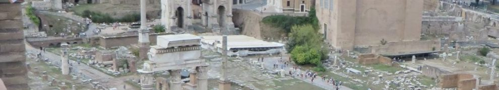 A view down the Roman Forum towards the Curia from the Palatine Hill