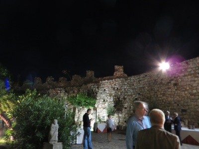 Courtyard of the Palazzo dei Duchi di Santo Stefano, Taormina, during a party