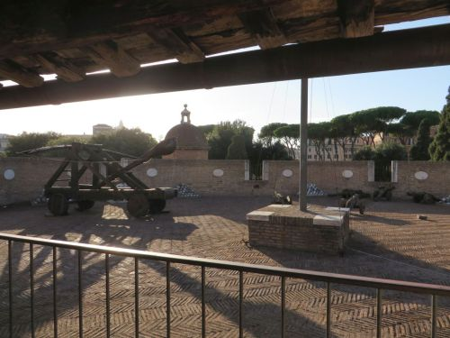 A mangonel, cannons and other weapons on a tower of the curtain wall of the Castel Sant'Angelo, Rome