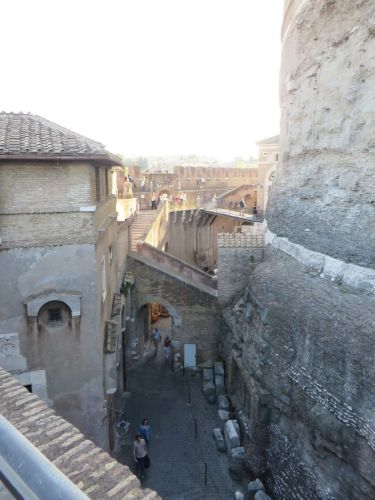 The central tower, curtain wall and inner space of the Castel Sant'Angelo, Rome