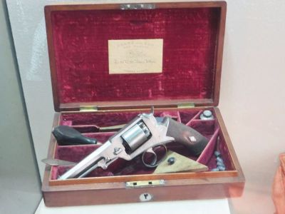 Revolver pistol and tools on display in the Castel Sant'Angelo, Rome