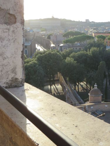 View from above of the colonnaded passage from the Vatican to the Castel Sant'Angelo, Rome