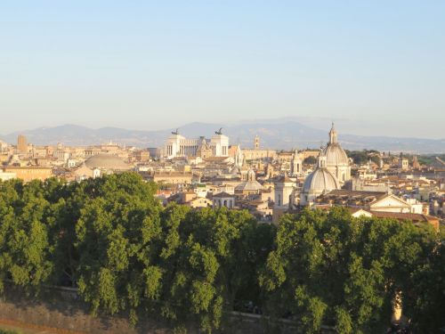 View of the city of Rome from the walls of the Castel Sant'Angelo
