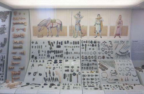 Material culture display in the Museo Nazionale Romano Crypta Balbi, Rome