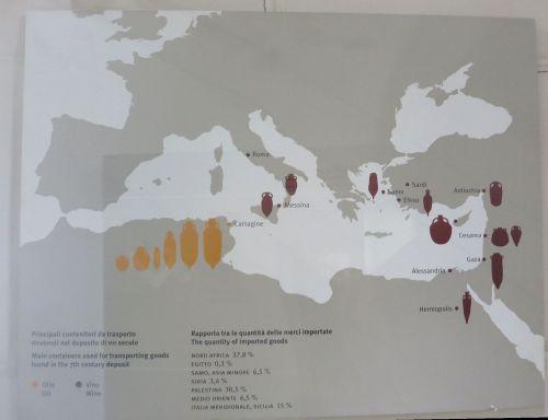 Distribution map of ceramic imports to the Crypta Balbi in the Museo Nazionale Romano Crypta Balbi, Rome