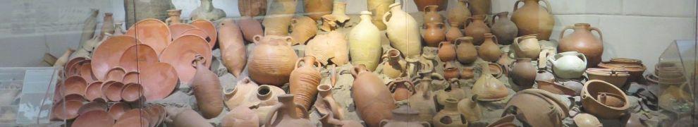 Ceramic assemblage display in the Museo Nazionale Romano Crypta Balbi, Rome