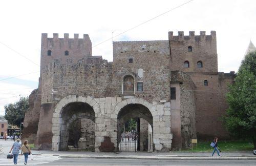 City-side entrances of the Porta San Paolo, Rome