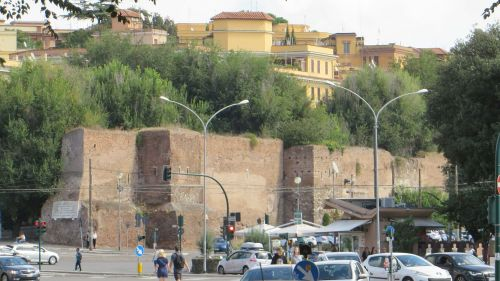 Section of the Aurelian Wall seen from the Via Ostiense, entering the city