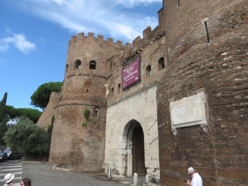 The outer archway of the Porta San Paolo, Rome