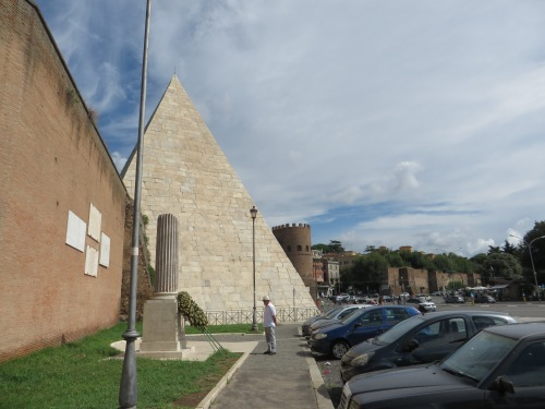 View of the Porta San Paolo down the Via Marmorata, Rome, showing the Aurelian Wall and the Pyramid of Cestius