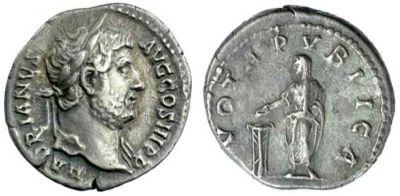 Silver denarius of Emperor Hadrian struck at Rome in 134-138 CE, Birmingham, Barber Institute of Fine Arts, R1131