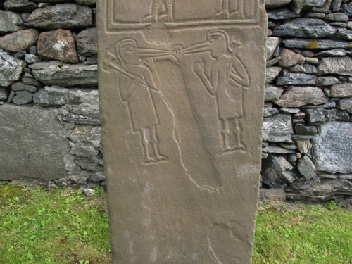 The birdman figures on the replica of the Papil Stone, Shetland