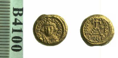 Gold solidus of Emperor Constants II struck at Carthage 641-654 CE, Birmingham, Barber Institute of Fine Arts B4100