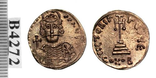 Gold solidus probably struck by Emperor Mezezios in Syracuse 668 CE, Birmingham, Barber Institute of Fine Arts B4272