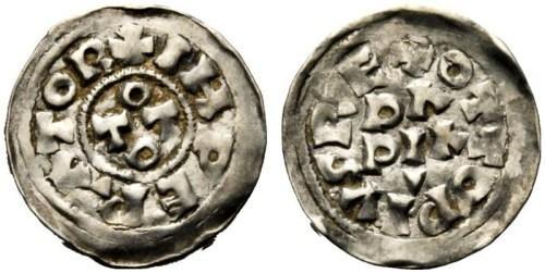 Silver denaro of Emperor Otto I struck at Pavia in 956-73