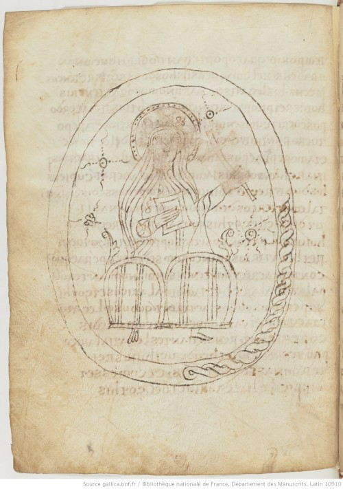 Bibliothèque national de France, MS Latin 10910, fo. 175r, showing a portrait of a female holy figure with a cross and book