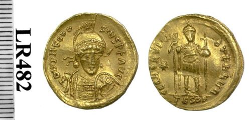 Gold imitation of a solidus of Emperor Theodosius II possibly made in India or Sri Lanka, Birmingham, Barber Institute of Fine Arts LR0482