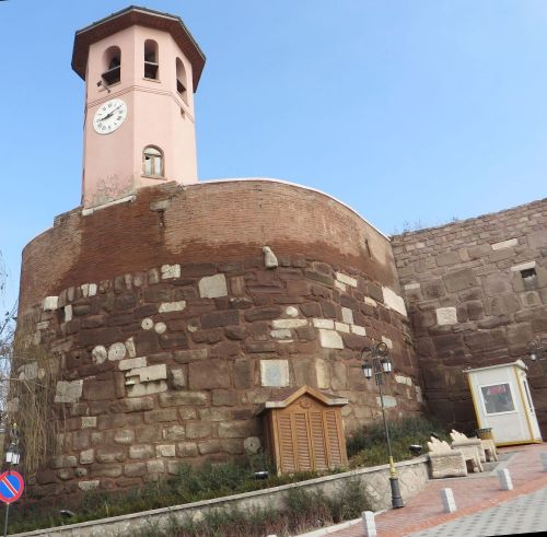 Circulr tower by the visitor entry to Ankara castle