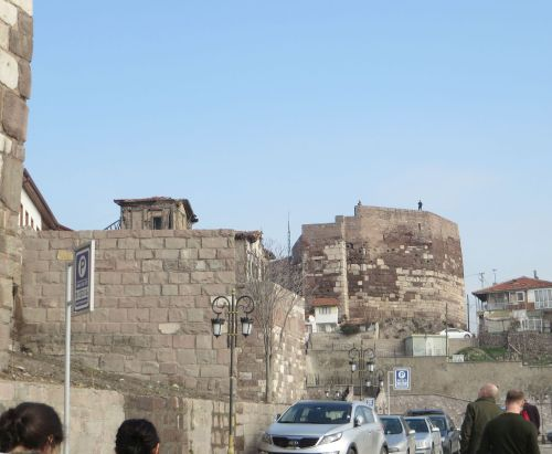 Remains of the citadel wall of the Byzantine castle in Ankara