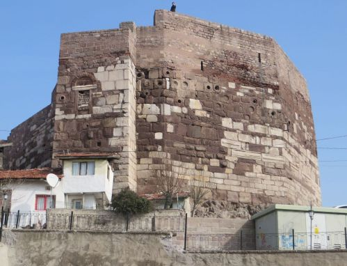 Corner tower on the exterior wall of the Byzantine castle at Ankara