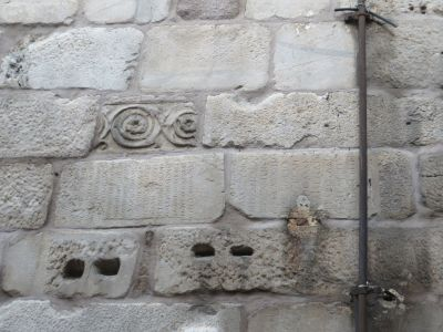 Reused masonry in the walls of the Şarc Kale, Ankara castle