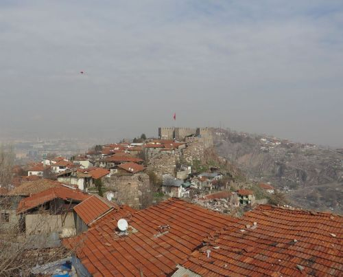 View from the Şarc Kale of Ankara castle across the valley to the Ak Kale