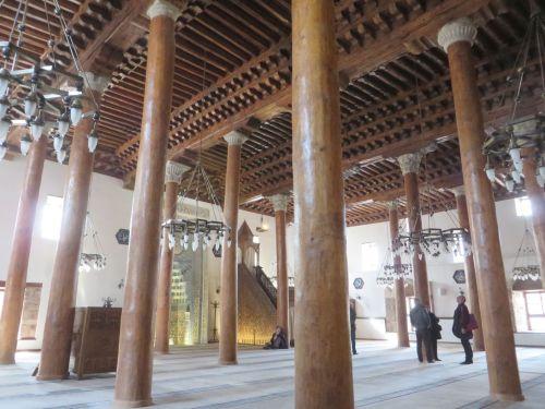 Wooden columns within the Arslanhane Camisi, Ankara