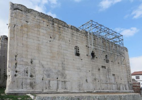 Surviving exterior wall of the Temple of Augustus and Rome at Ankara