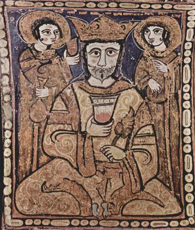 Painting of King Roger II of Sicily from the Palatine Chapel in Palermo